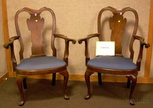 Set of Four Gulden Queen Anne Style Carved Walnut Armchairs with Upholstered Slip Seats