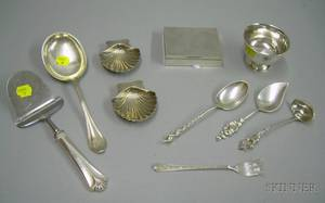 Ten Pieces of Sterling Silver Flatware Serving and Personal Items