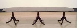 Regency style three pedestal dining table
