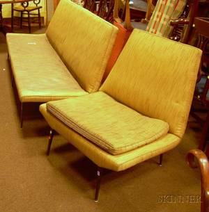 MidCentury Modern Upholstered Metal Sofa and Chair