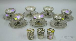 Set of Six Silver Overlay and Colorless Glass Desserts and Underplates