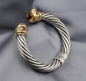 Sterling Silver 14kt Gold and Gemset Bracelet David Yurman