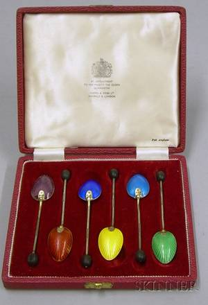 Boxed Set of Six Sterling Silver and Enamel Demitasse Spoons