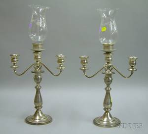 Pair of Sterling Silver Convertible ThreeLight Candelabra