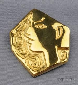 Artist Designed 23kt Gold PendantBrooch Jean Cocteau