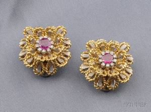 18kt Bicolor Gold Ruby and Diamond Flower Earclips