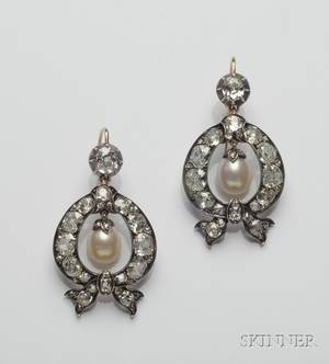 Antique Pearl and Diamond Earpendants