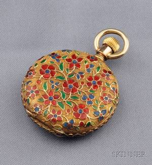 Antique 18kt Gold and Enamel Open Face Pocket Watch JE Caldwell