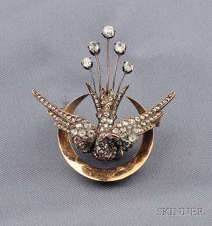 Antique 18kt Gold and Diamond Bird Brooch