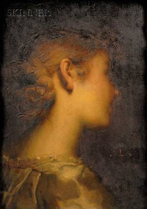 Dsir Franois Laugee French 18231896 Portrait of a Young Lady in Profile