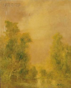 Frank Duhme American 20th Century Lot of Two Works Misty Landscape and Trees at Twilight