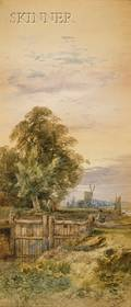 William H Vernon British 18201909 Lot of Two Landscapes with Figures