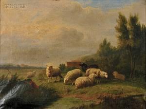 Eugne Verboeckhoven Belgian 17991881 Grazing Sheep