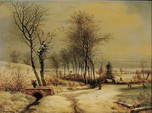 Continental School 19th Century Figures in a Winter Landscape