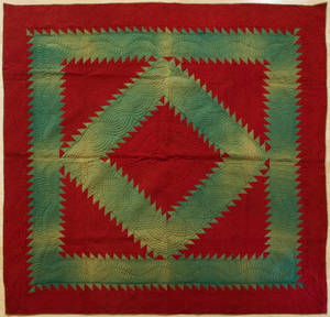 Lancaster County Pennsylvania Amish diamond in square quilt ca 1920