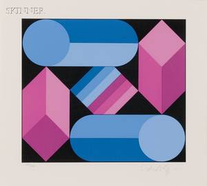Victor Vasarely FrenchHungarian 19081997 Composition in Blue and Magenta