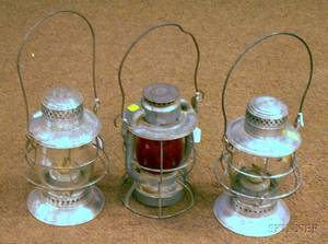 Three Deitz New York Central Tin Lanterns