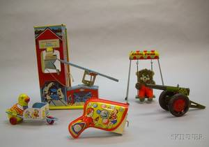 Five Lithographed Tin Toys
