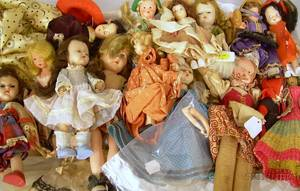 Group of Small Vintage Plastic Dolls and Costume Dolls