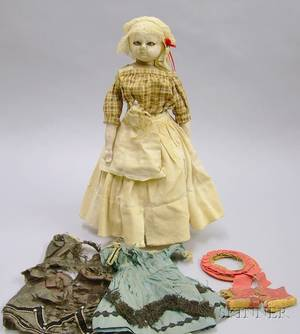 Early WaxoverComposition Shoulder Head Doll and Clothing