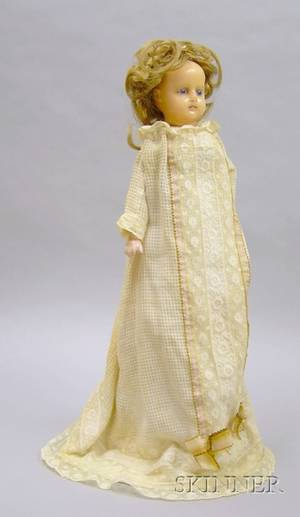 Poured Wax FlangeNeck Child Doll
