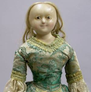 English WaxoverComposition Shoulder Head Doll