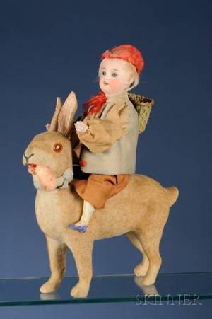Boy Riding on Rabbit Candy Container