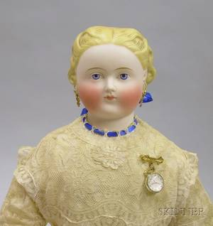 Blonde Tinted Parian Shoulder Head Doll