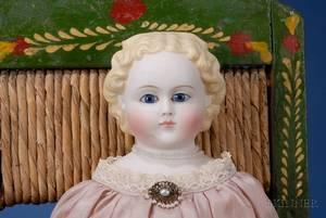GlassEyed Parian Shoulder Head Doll