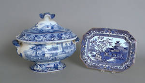 Blue Staffordshire covered tureen depicting Slingsby Castle