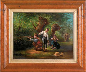 Oil on board scene of three children hunting