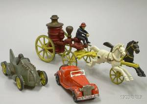 Group of Three Painted Metal Vehicles