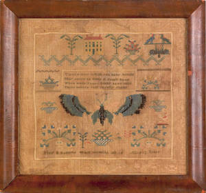 Midwest silk on linen sampler wrought by Mary E Kellum early 19th c