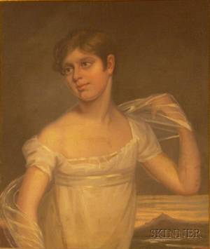American School 19th Century Portrait of a Young Woman in White