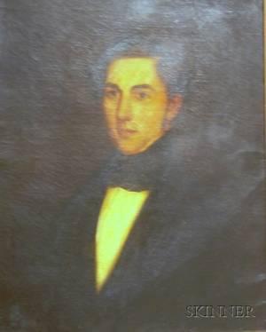 Framed American School Oil on Canvas Portrait of a Gentleman