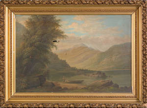 American oil on canvas river scene 19th c