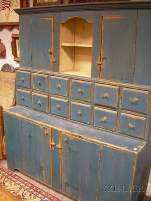 Country Bluepainted Wooden Stepback Cupboard