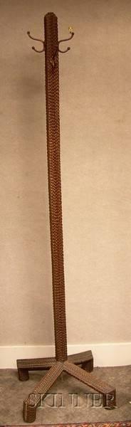 Tramp Art Notchcarved Wooden Coat Rack