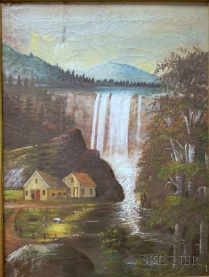 Walnut Framed American School 19th Century Oil on Canvas Landscape with Waterfall