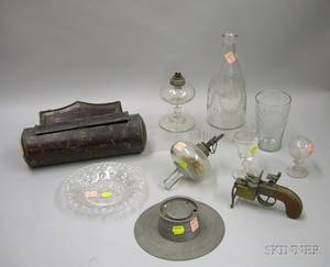Group of Colorless Blown Glass and Assorted Decorative Items