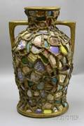 Memoryware and Goldpainted DoubleHandled Vase