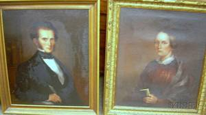 Framed Pair of 19th Century American School Oil on Canvas Portraits of a Minister in His Study and Woman with Memorial Brooch