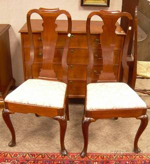 Pair of Queen Anne Style Carved Mahogany Side Chairs
