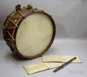 19th Century Wooden Marching Drum a Wooden Fife and Two Booklets of Handwritten and Printed Sheet Music