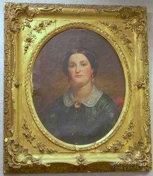 Framed 19th Century American School Oil on Canvas Portrait of a Lady by Charles Waldo Jenkins American 18211896