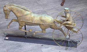 Gilt Molded Copper Running Horse Sulky and Driver Weather Vane