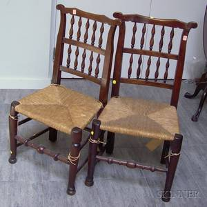 Pair of English Oak Spindleback Side Chairs with Woven Rushstyle Seats