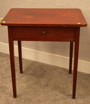 Redstained Maple SingleDrawer Table with Tapering Legs