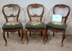 Six Victorian Needlepoint Upholstered Carved Walnut Parlor Side Chairs