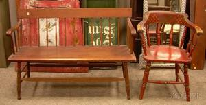 Redpainted and Stencil Decorated Windsor Firehouse Armchair and a Windsor Maple and Pine Spindleback Bench